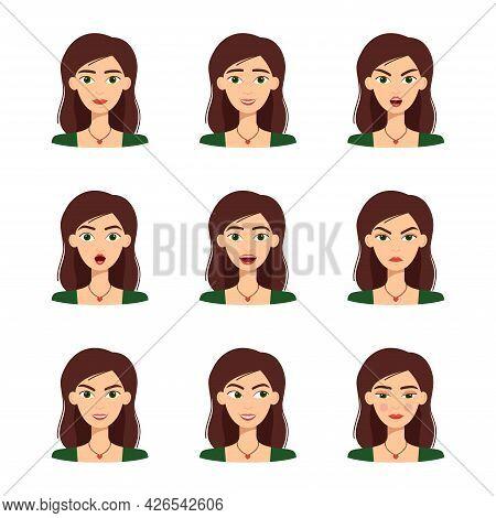 Set Of Beautiful Girl Emotions, Vector Illustration
