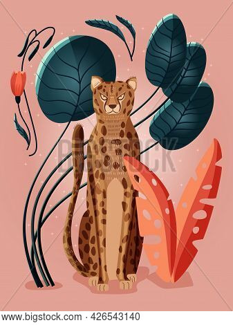 Portrait Of A Cheetah On Pink Background Surrounded With Colorful Plants, Palm Leaves And Flowers. H