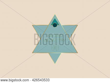 Sacred Geometry, Geometric Triangles Shape Logo Template, Gold Flower Of Life. Colorful Symbol Of Ha