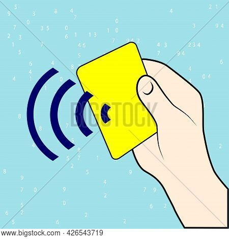 Contactless Card Payment Systems. Pos, Nfs Technolgy Icon. Electronic Contactless Plastic Card Sign.