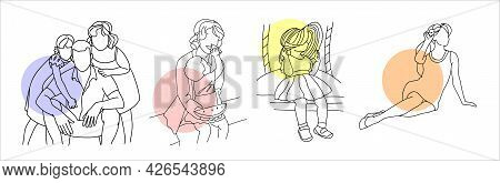 Family, Mom With Children, Dad With Children, A Beautiful Child. A Set Of Illustrations In A Linear