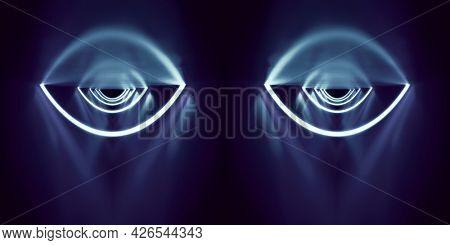 A blue neon lights eyes background. 3D illustration
