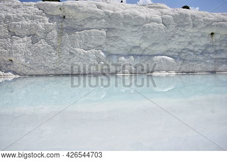 Travertine Sediment Wall And Hydrothermal Solution Pool. Pamukkale.