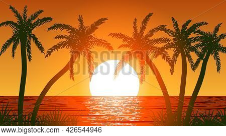 Vector Palm Trees On Ocean Shore At Sunset
