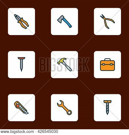 Repair Icons Colored Line Set With Hatchet, Toolbox, Nail And Other Cutter Elements. Isolated Vector