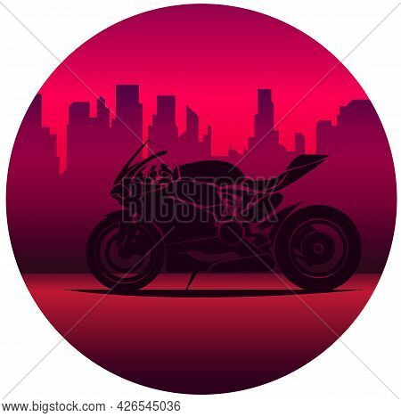 Motorcycle Print With Motorbike, Old Chopper With Custom Wheels. For Boys T-shirt. Vector Illustrati