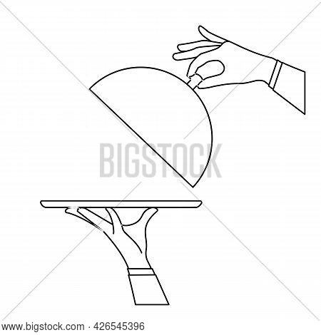 Elegant Waiter Hands Holding Silver Serving Tray And Lid Cover Cloche For Food. Vector Flat Outline
