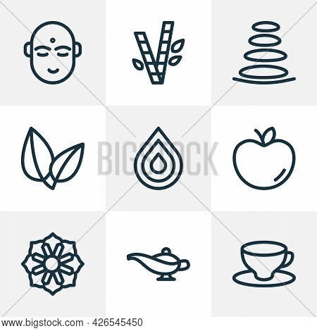 Spiritual Icons Line Style Set With Mandala, Spa Stones, Leaves Coffee Glass Elements. Isolated Vect