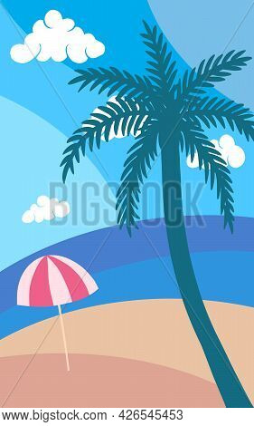 Vector Abstract Cartoon Flat Illustration Of Sand Beach On Blue Ocean Shore With Palm Tree And Red U