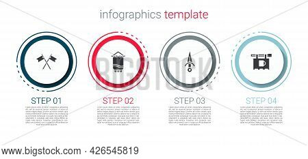 Set Crossed Medieval Flag, Medieval, Dagger And Street Signboard With Bar. Business Infographic Temp