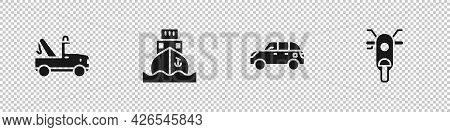 Set Tow Truck, Cargo Ship, Hatchback Car And Scooter Icon. Vector