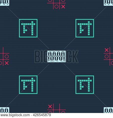 Set Tic Tac Toe Game, Board And Bingo On Seamless Pattern. Vector