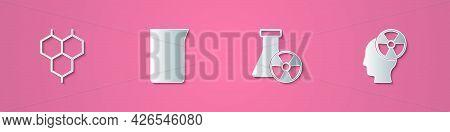 Set Paper Cut Chemical Formula, Laboratory Glassware Beaker, Test Tube Radiation And Head And Symbol