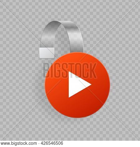 Realistic Detailed 3d Wobbler Red Circle Play Button. Vector
