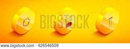 Set Isometric Molecule, Laboratory Glassware Or Beaker And Test Tube And Flask Icon. Vector