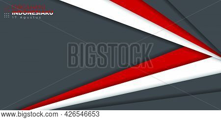 Indonesia Independence Day With Red White And Dark Geometric Design. Indonesian Text Mean Is Longevi