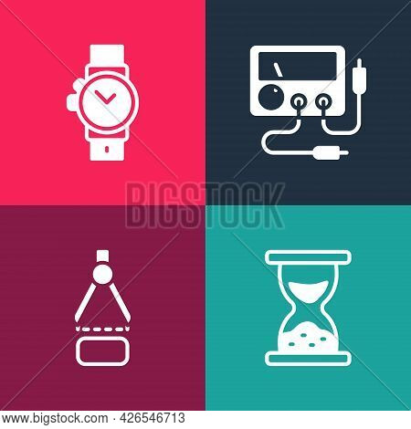 Set Pop Art Old Hourglass With Sand, Drawing Compass, Multimeter, Voltmeter And Wrist Watch Icon. Ve