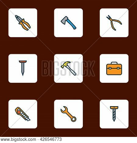 Tools Icons Colored Line Set With Hatchet, Toolbox, Nail And Other Cutter Elements. Isolated Illustr