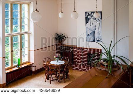 Prague, Czech Republic - July 12 2020: Villa Winternitz Living Room Or Main Hall Interior Designed B