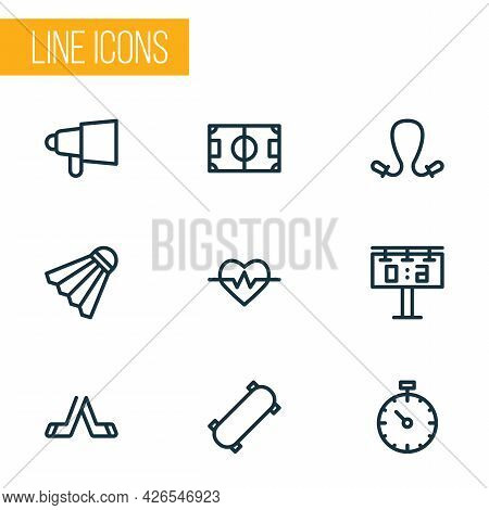 Game Icons Line Style Set With Tennis Ball, Pressure Tracker, Skateboard And Other Scoreboard Elemen