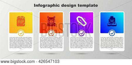 Set Tombstone With Rip Written, Cat, Coffin Cross And . Business Infographic Template. Vector