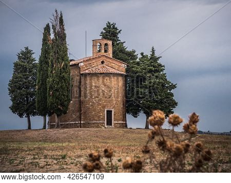 Chapel Capella Della Madonna Di Vitaleta In Tuscany, Italy At In The Early Morning With Cypress Tree