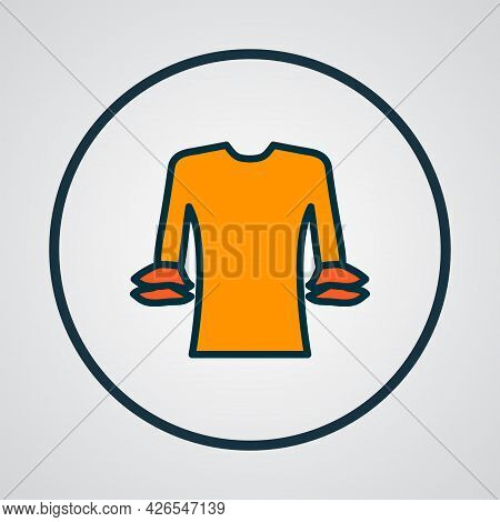 Elegant Blouse Icon Colored Line Symbol. Premium Quality Isolated Circular Flounce Sleeve Element In