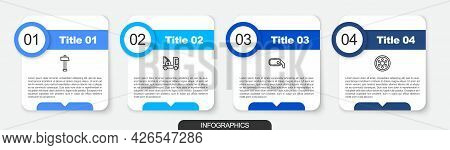 Set Line Hammer, Tow Truck, Car Rearview Mirror And Alloy Wheel. Business Infographic Template. Vect