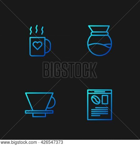 Set Line Newspaper And Coffee, V60 Maker, Coffee Cup Heart And Pour Over. Gradient Color Icons. Vect