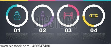 Set Line Kettlebell, Bottle Of Water, Volleyball Net And Skateboard Trick. Business Infographic Temp