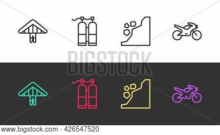 Set Line Hang Glider, Aqualung, Landslide And Motorcycle On Black And White. Vector