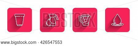 Set Line Water Filter Cartridge, Jug Glass With Water, Jug And Drop With Long Shadow. Red Square But