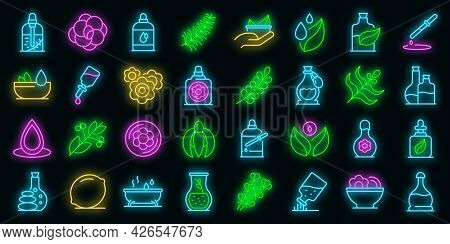 Essential Oils Icons Set. Outline Set Of Essential Oils Vector Icons Neon Color On Black