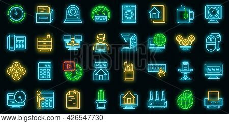 Home Office Icons Set. Outline Set Of Home Office Vector Icons Neon Color On Black