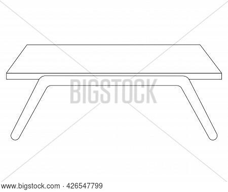 Breakfast Table - Vector Linear Illustration With Editable Outline For Coloring. Outline. Table For