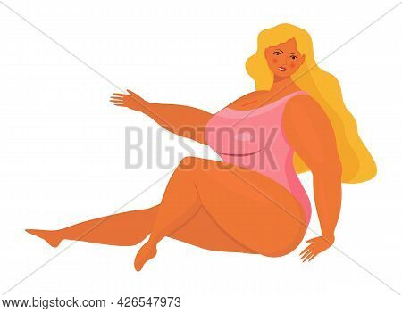 Body Positive Girl Vector. Happy Plus Size Woman Wearing Swimsuit And Smiling.