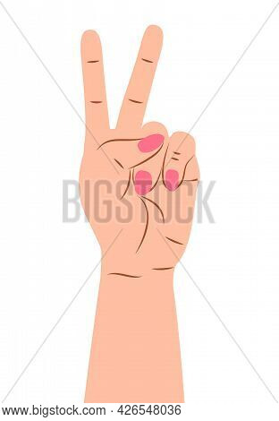 Hand Gesture Sign Vector. Ounting On Fingers. Wrist Icons With Finger Count