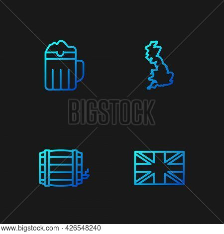 Set Line Flag Of Great Britain, Wooden Barrel, Beer Mug And England Map. Gradient Color Icons. Vecto
