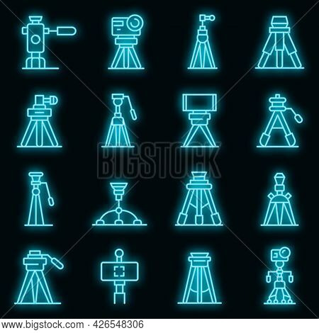 Tripod Icons Set. Outline Set Of Tripod Vector Icons Neon Color On Black