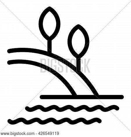 Tropical Island Icon Outline Vector. Ocean Beach Palm. Summer Paradise