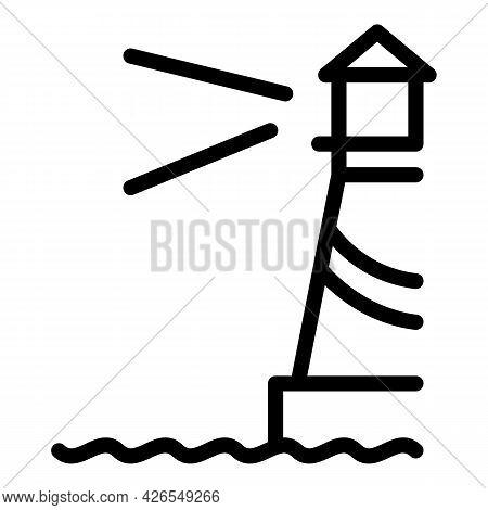 Lighthouse Icon Outline Vector. Sea Light Beacon. Marine House Tower