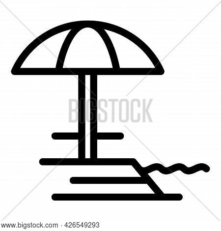 Sand Umbrella Icon Outline Vector. Beach Parasol. Sun Sea Umbrella