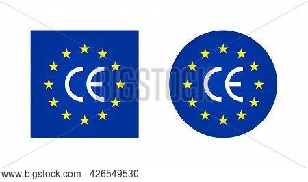 Ce Europe Mark. Logo For European Certificate. Icon Of Eu Manufacturer. Symbol Of European Made, Qua