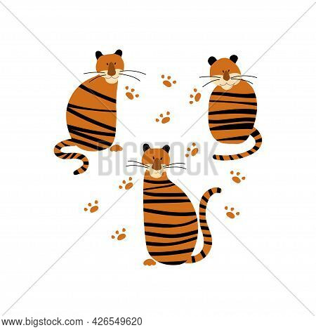 Vector Set Of Cute Tigers. Collection Of Simple Tigers In Hand Drawn Style. Tiger Isolated On A Whit