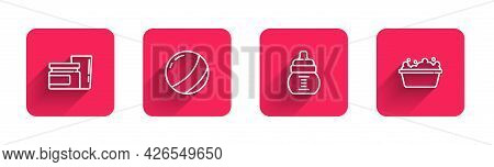 Set Line Baby Food, Beach Ball, Bottle And Bathtub With Long Shadow. Red Square Button. Vector