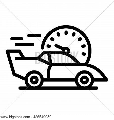 Speed Car Icon Outline Vector. Vehicle Drive. Automobile Speed Road