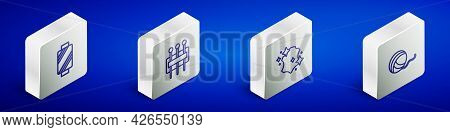 Set Isometric Line Sewing Thread On Spool, Needle For Sewing, Leather And Yarn Ball Icon. Vector