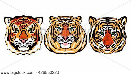 Tiger Realistic  Portrait  Head Silhouette, Beatiful Tiger- Simbol 2022 Year. Collection Vector Icon
