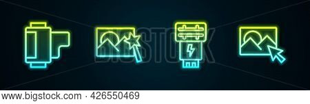 Set Line Camera Roll Cartridge, Photo Retouching, Camera Flash And . Glowing Neon Icon. Vector