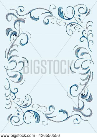 The Blue Pattern Is Fantastically Beautiful, Similar To The Frosty Patterns On The Windows In Winter